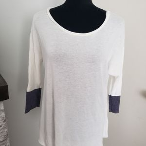 Project Social T white and gray 3/4 sleeve top.